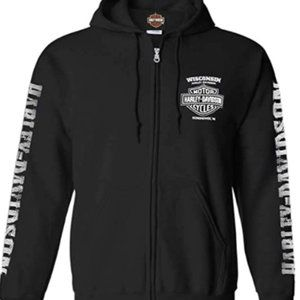 NWT Harley-Davidson Men's Lightning Crest Zippered Hooded Sweatshirt Small